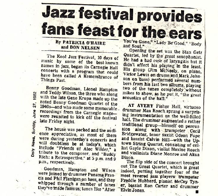 Review from NY Daily News.  Debut performance, Max Roach Double Quartet/ Uptown String Quartet, KOOL Jazz Festival, Avery Fisher Hall, Lincoln Center NYC,  6/25/82.  Original personnel of the Uptown String Quartet:  Gayle Dixon violin 1, Diane Monroe violin 2.  Maxine Roach viola.  Akua Dixon cello.