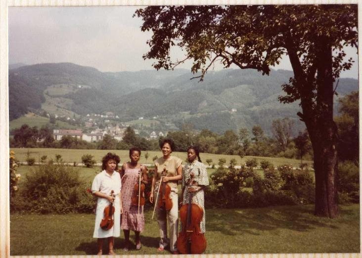 Uptown String Quartet, first European tour (1983).  Pictured from left:  Cecilia Hobbs, Gayle Dixon, Maxine Roach, Akua Dixon